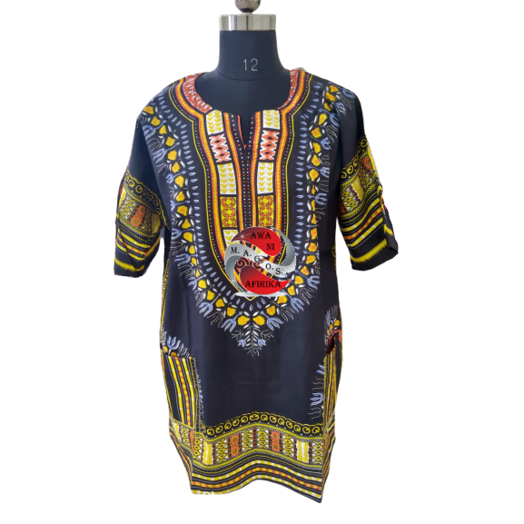 100% Cotton African Traditional Dashiki Shirt -Yellow-Black