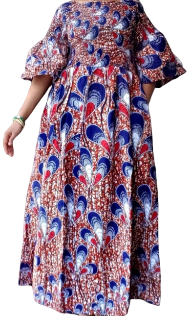Blue Red African Print Smocked Long Dress