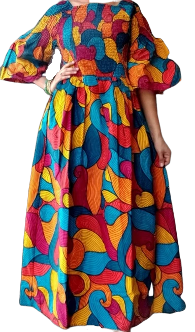 Multicolored African Print Smocked Long Dress