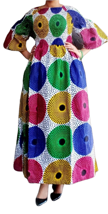Colorful African Print Smocked Long Dress