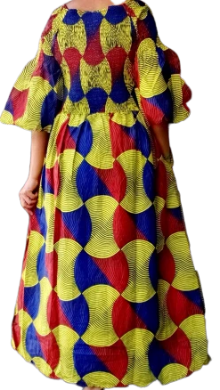 African Red/Yellow/Blue Print Smocked Long Dress
