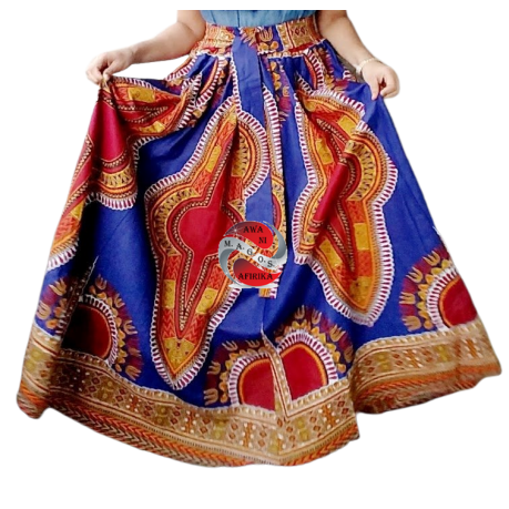 TRADITIONAL PRINT LONG MAXI DASHIKI SKIRT ROYAL-BLUE