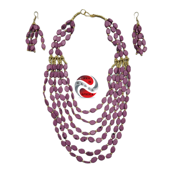 Violet African Beaded Layered Jewelry Set