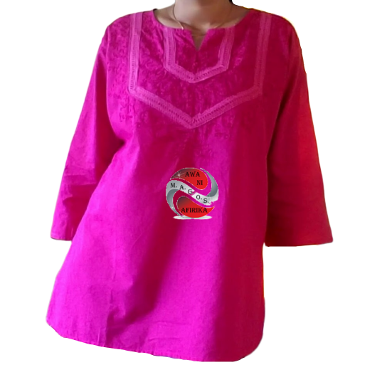 LADIES COTTON EMBROIDERY BLOUSE FUCHSIA