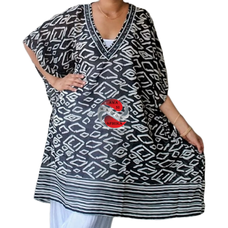 Black White Print Ladies Beaded Neckline Tunic Blouse Dress