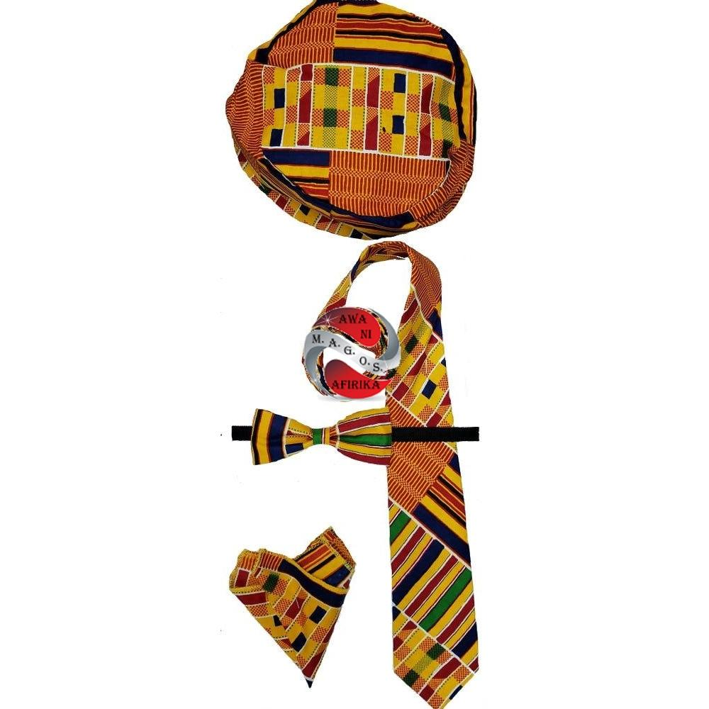 Traditional Kente Print 4pc Bow Tie Set-Style 1