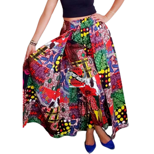 Women's African Red Floral Print Cape Pant-skirt
