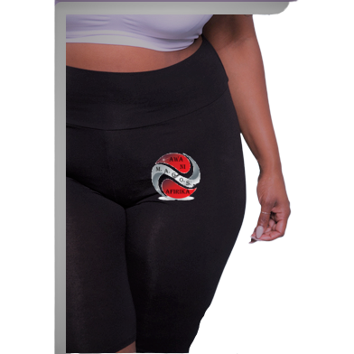 LADIES PLUS SIZE BLACK SHORT LEGGINGS