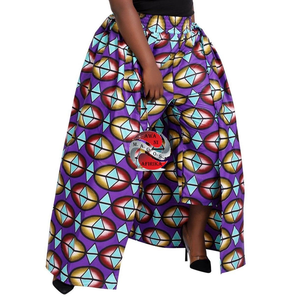 AFRICAN PRINT LONG CAPE PANT SKIRT