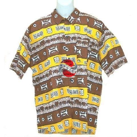 Men's Brown/Yellow Button Down Dashiki - | M.A.G.O.S. African inspired clothing for men, contemporary African men's apparel, modern African clothing for men