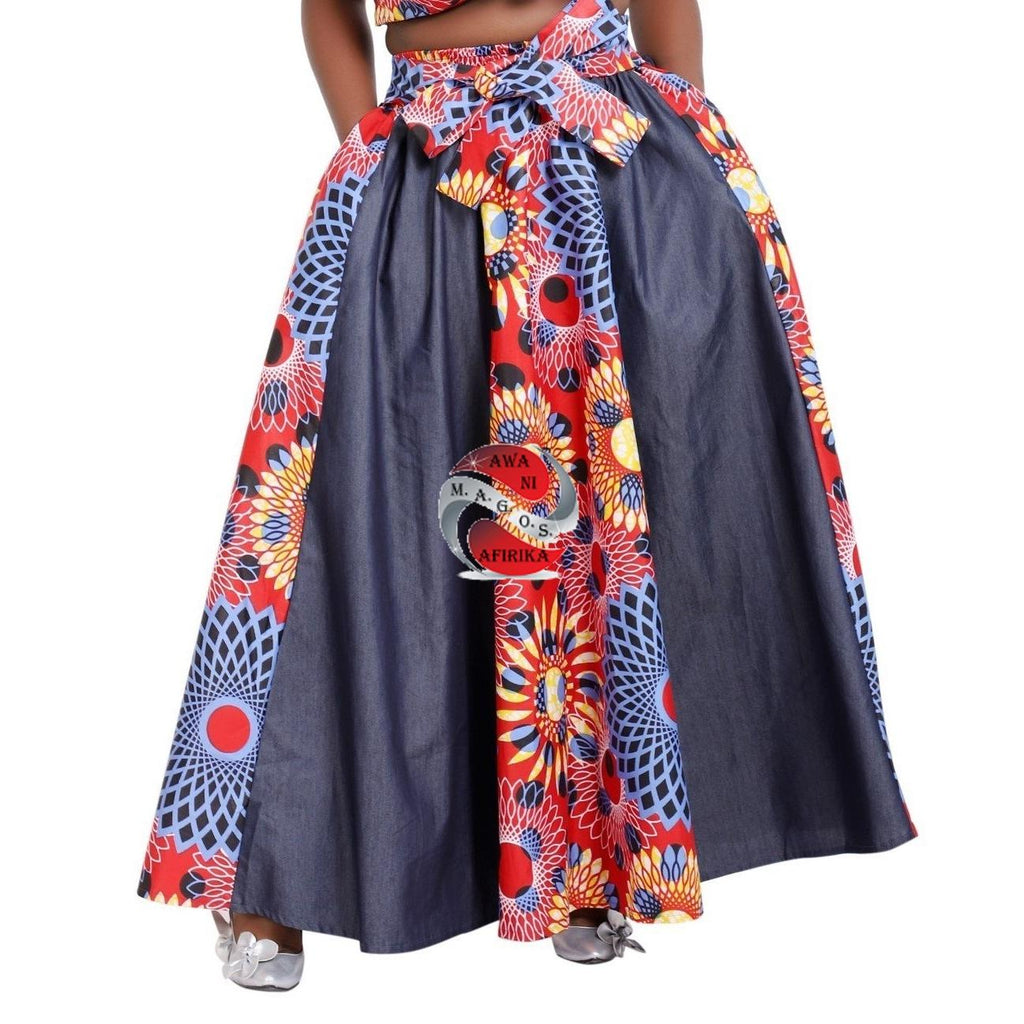AFRICAN LONG WAX PRINT DENIM SKIRT