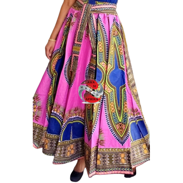 TRADITIONAL PRINT LONG MAXI DASHIKI SKIRT PINK