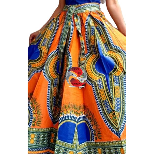 TRADITIONAL PRINT LONG MAXI DASHIKI SKIRT ORANGE