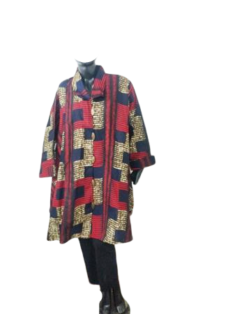 Authentic African Print Button Long Tunic Jacket