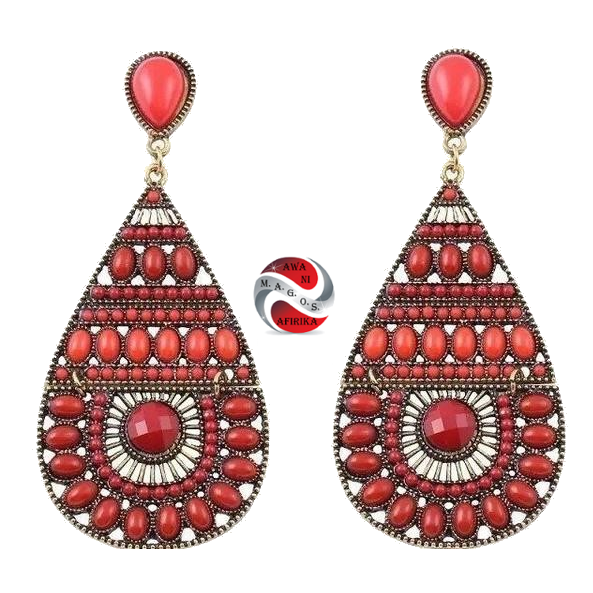 African Style Beaded Water Drop Earrings-Red