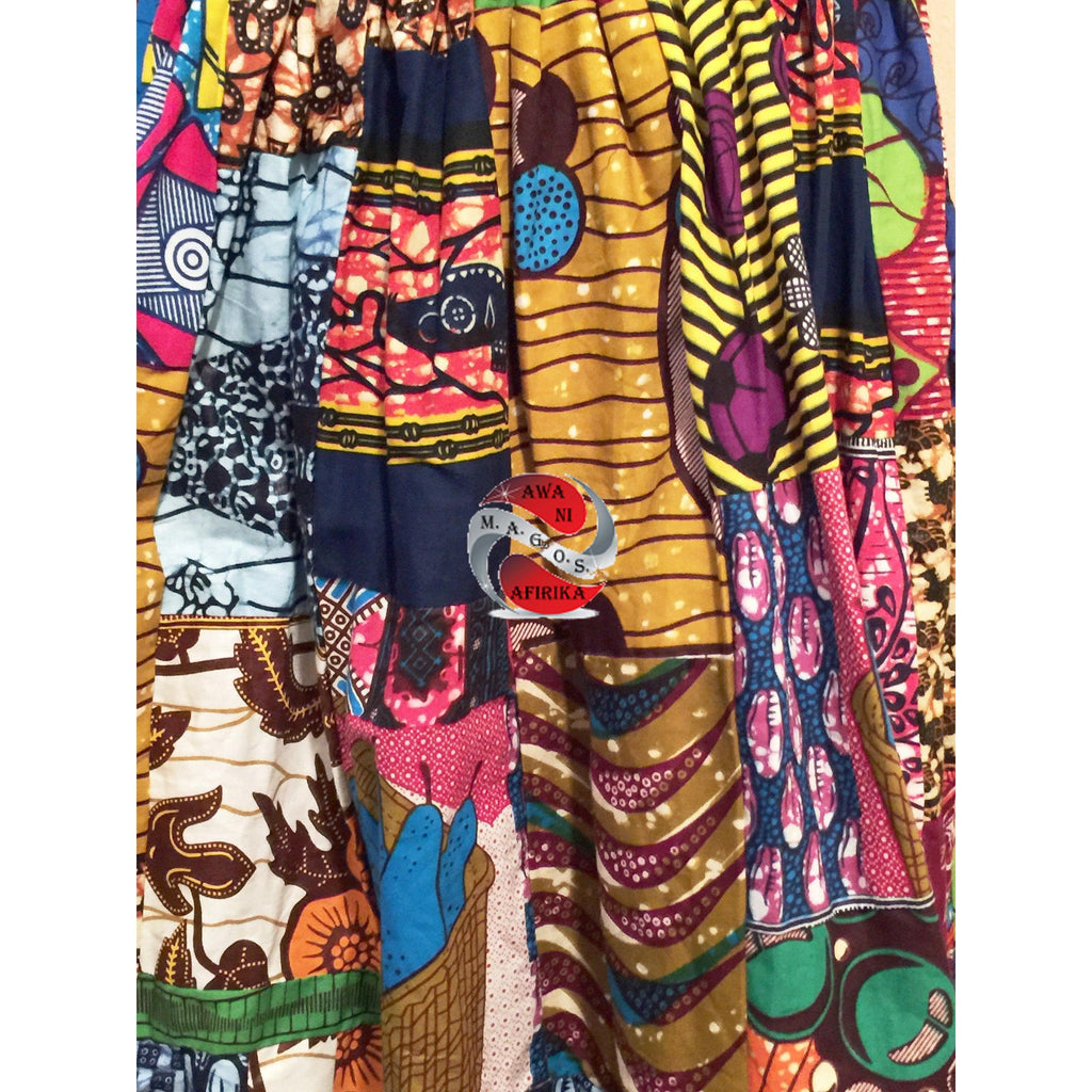HEAVY THICK AFRICAN PATCH BATIK KNEE LENGTH SHORT SKIRT II  (One of a kind) - M.A.G.O.S.