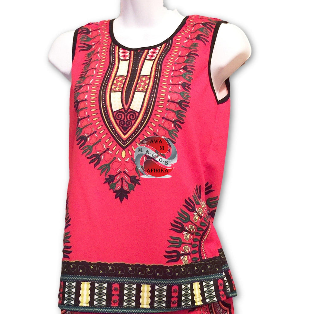 Traditional Print Red Dashiki Set (Large) - | M.A.G.O.S. African print shirts for boys, African print kids clothing, African inspired kids fashion