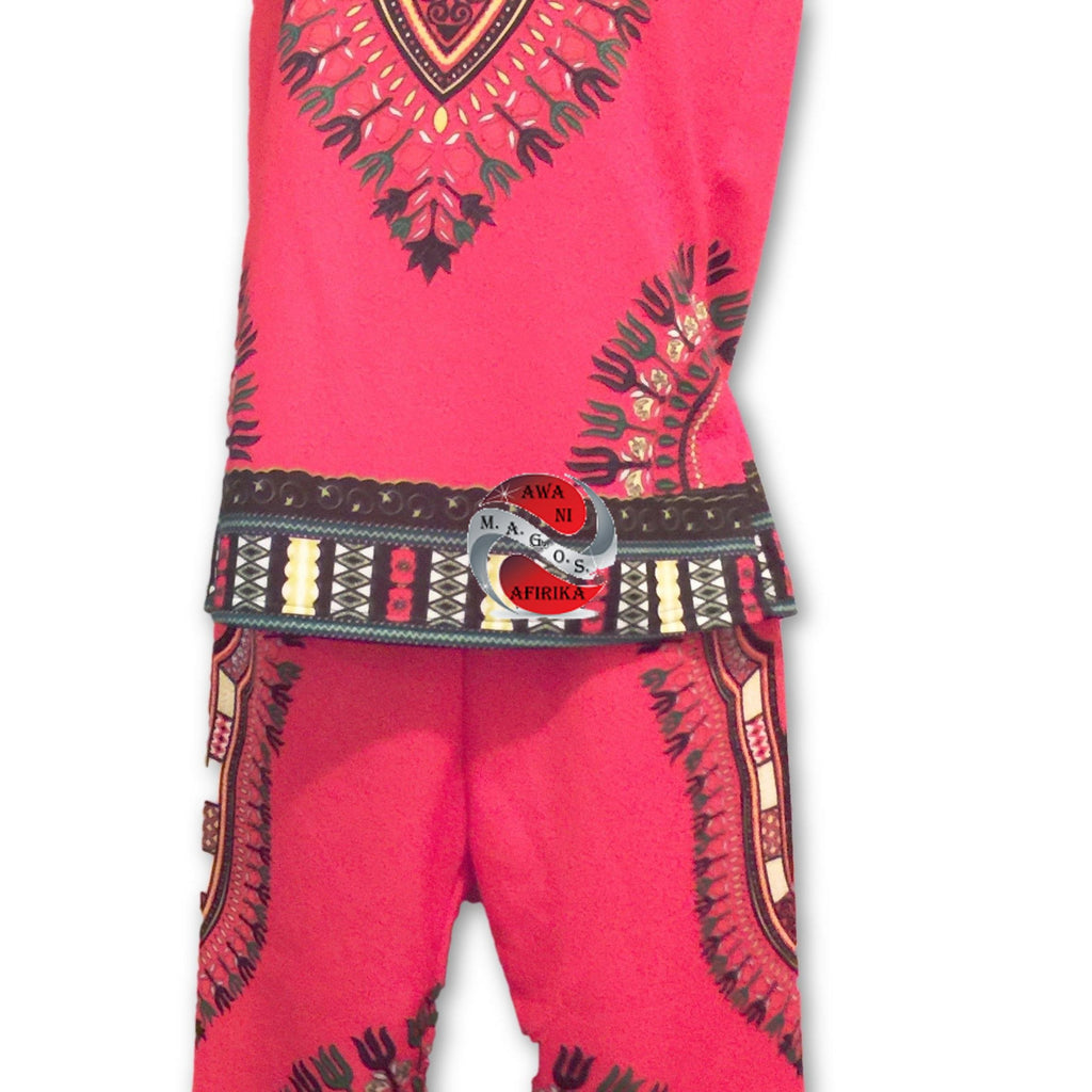 Traditional Print Red Dashiki Set (Large) - | M.A.G.O.S. African traditional children's clothes, African inspired kids clothes, dashiki for children, little girl African print dress
