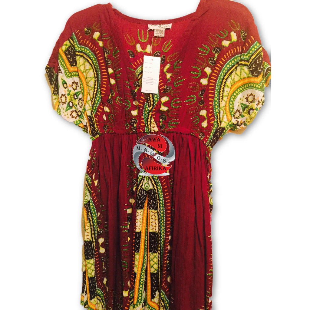 Traditional Print BabyDoll Dress - Burgundy | M.A.G.O.S. African print pants for ladies, African print shirts for ladies, African print mermaid dress