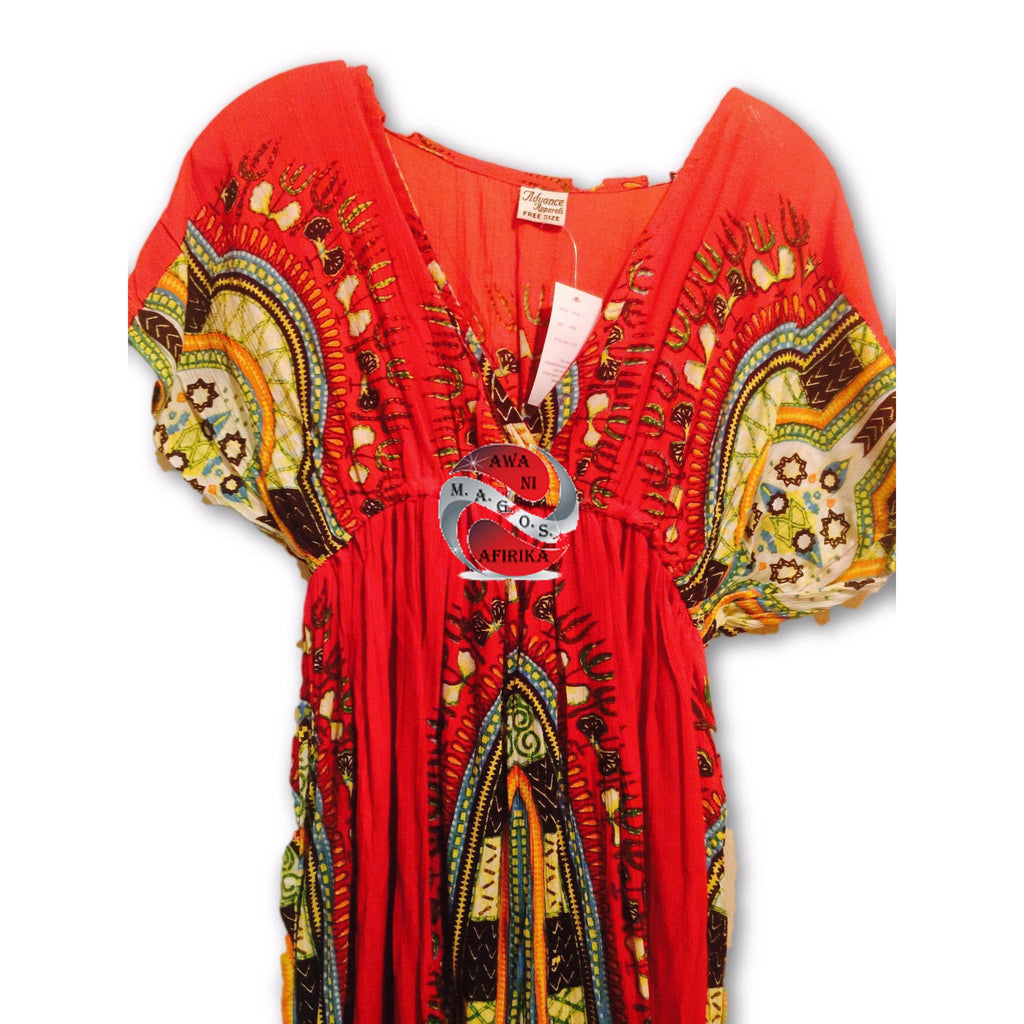 Traditional Print BabyDoll Dress - Red | M.A.G.O.S. African print pants for ladies, African print shirts for ladies, African print mermaid dress