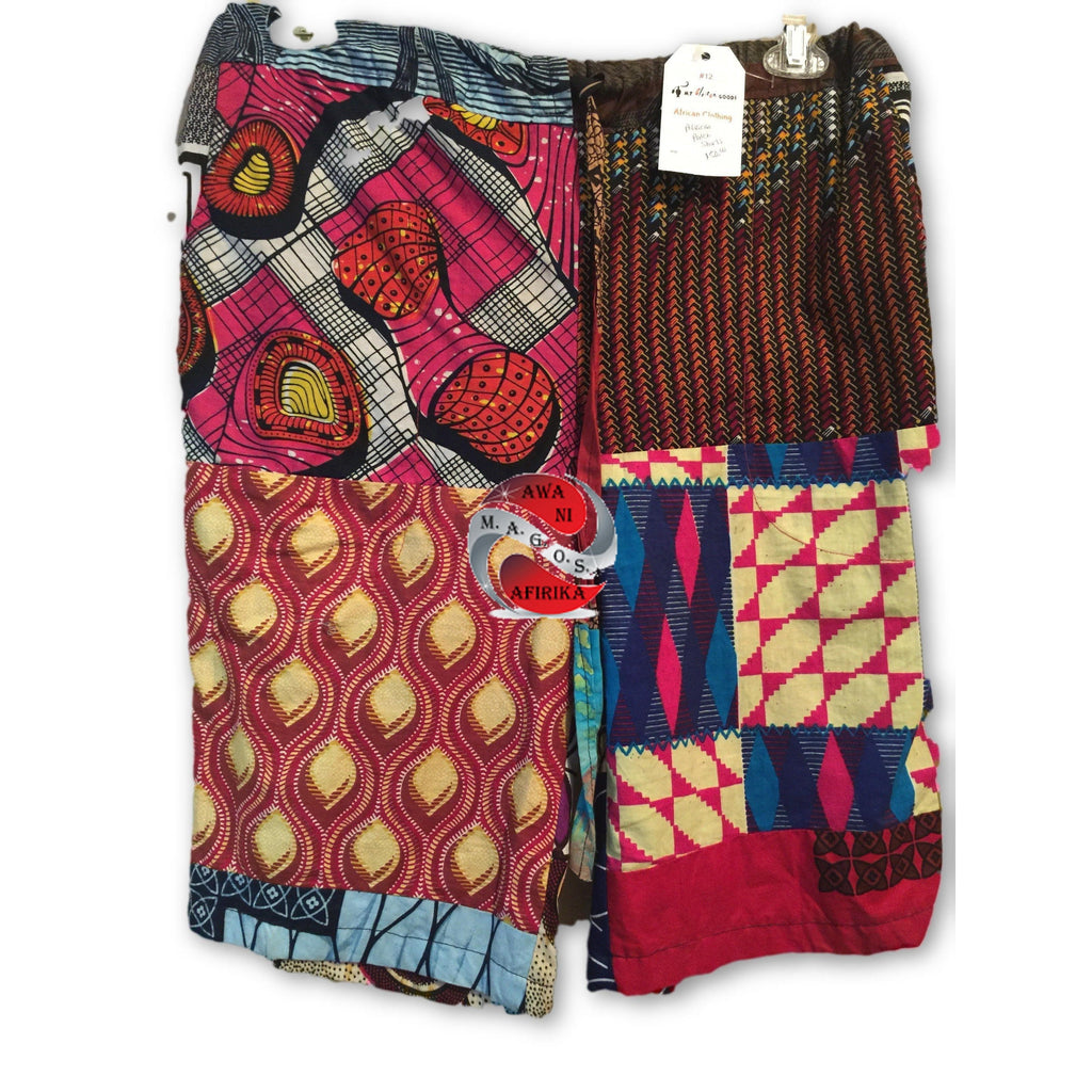 African Patchwork Knee Length Shorts - | M.A.G.O.S. African wear for men, African long sleeve dashiki, African print shirts for men
