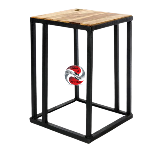 Ghanaian Teak and Metal Accent Table with Brass Sankofa Symbol