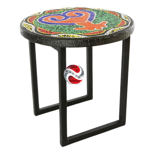 BEADED SANKOFA COCKTAIL STOOL