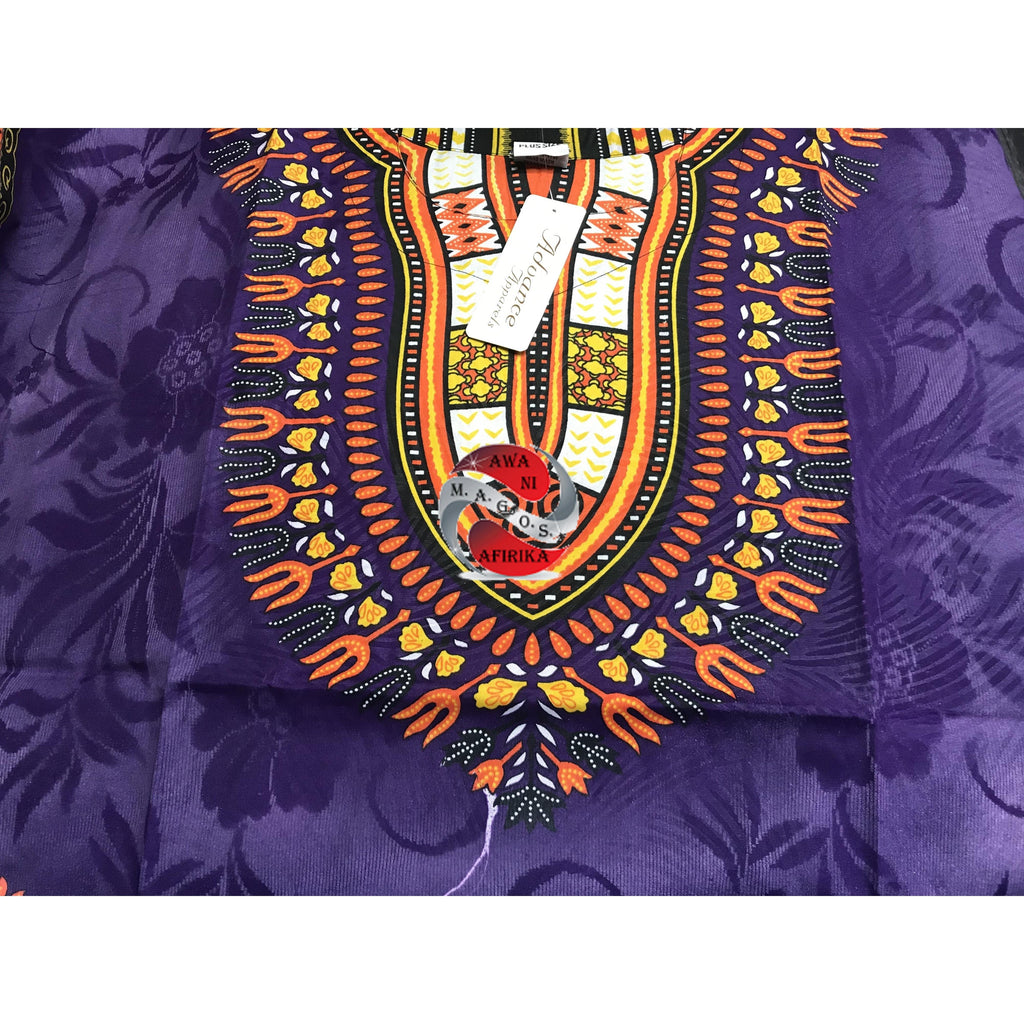 Traditional Print Embossed African Dashiki (Purple)