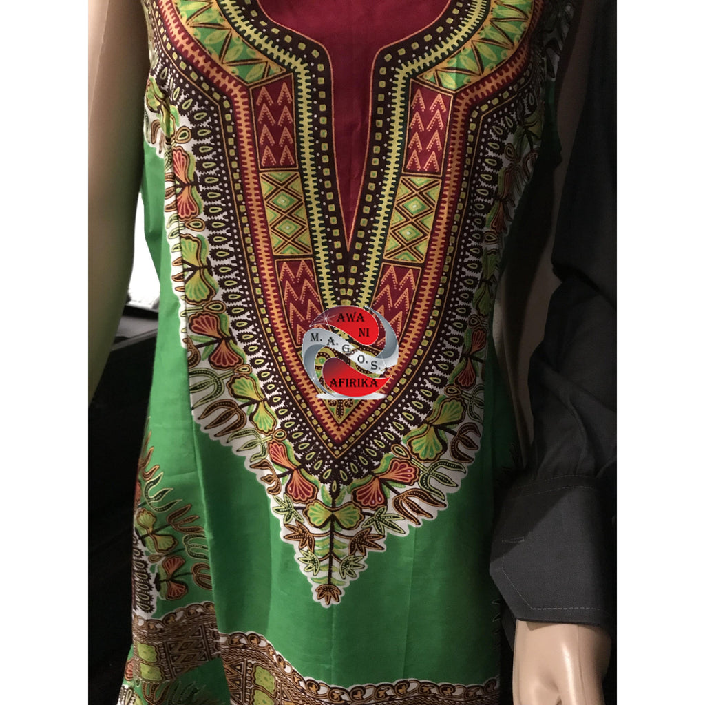 African Print Sleeveless Dress Dashiki Dress Green - | M.A.G.O.S. African print off the shoulder top, African print dresses for graduation, African wear for women