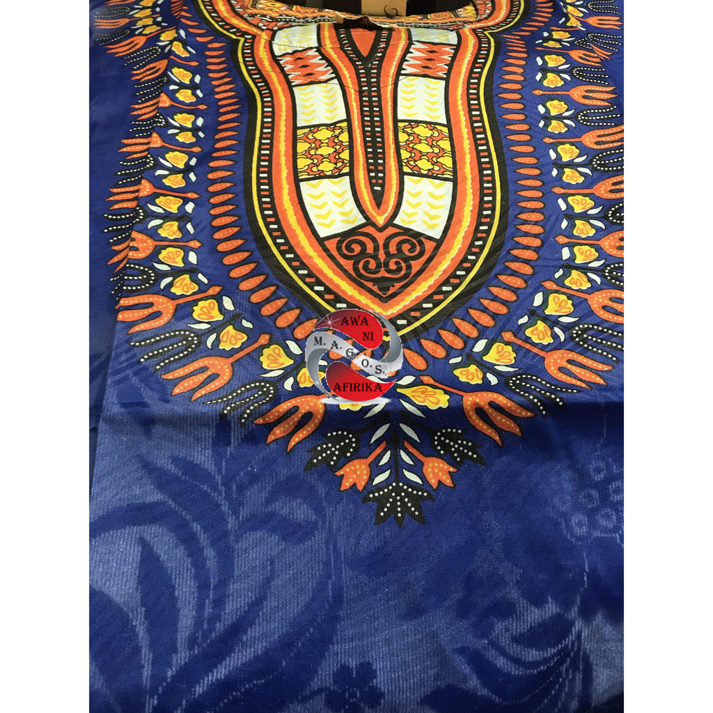 Traditional Print Embossed African Dashiki (Free Size - Blue)