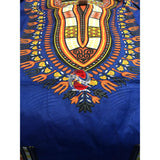 Traditional Print Embossed African Dashiki (Blue)