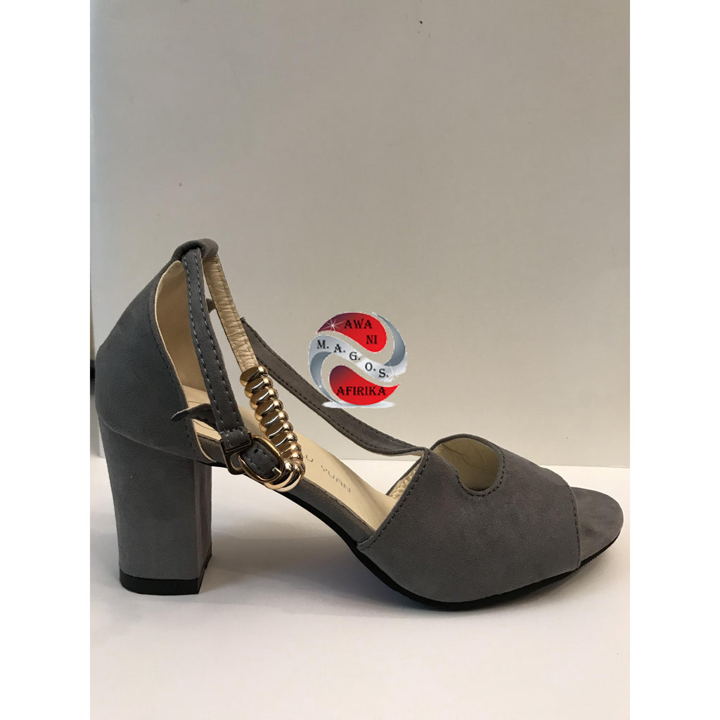 Grey Suede Ankle Strap Chunky Heel - | M.A.G.O.S. affordable African imported goods, authentic designer clothing, name brand fashion wear