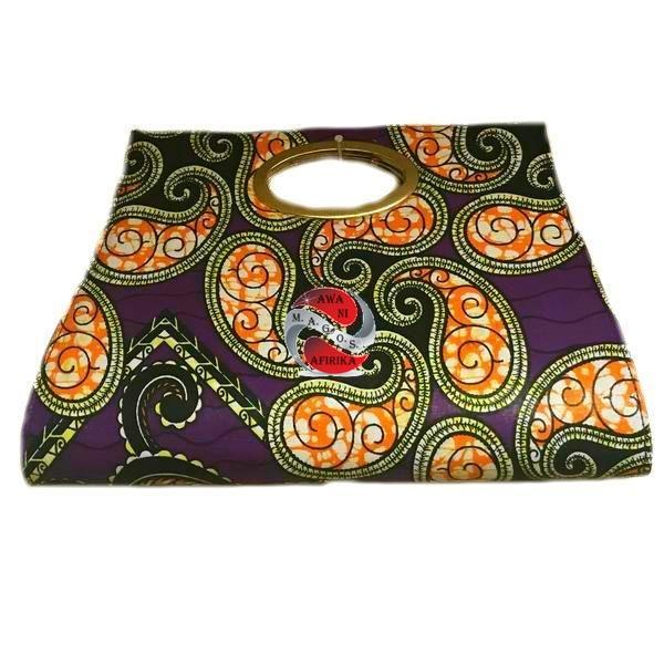 AFRICAN FABRIC PRINT POCKET TOTE PURSE-PURPLE