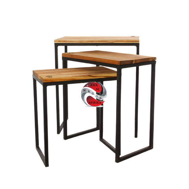Ghanaian Nesting Tables with Brass Sankofa Symbols (Set of Three)