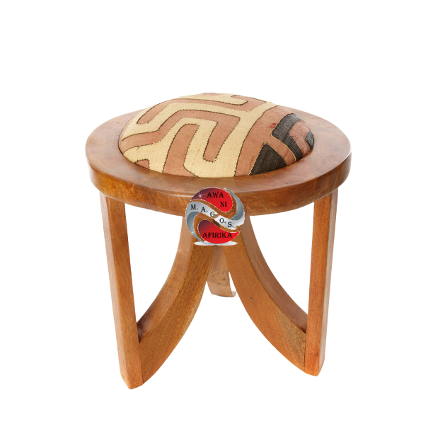 Mahogany Triad Stool with Congo Raffia Puff
