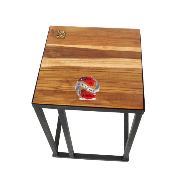 Ghanaian Teak and Metal Accent Table with Brass Dwennimmen Symbol