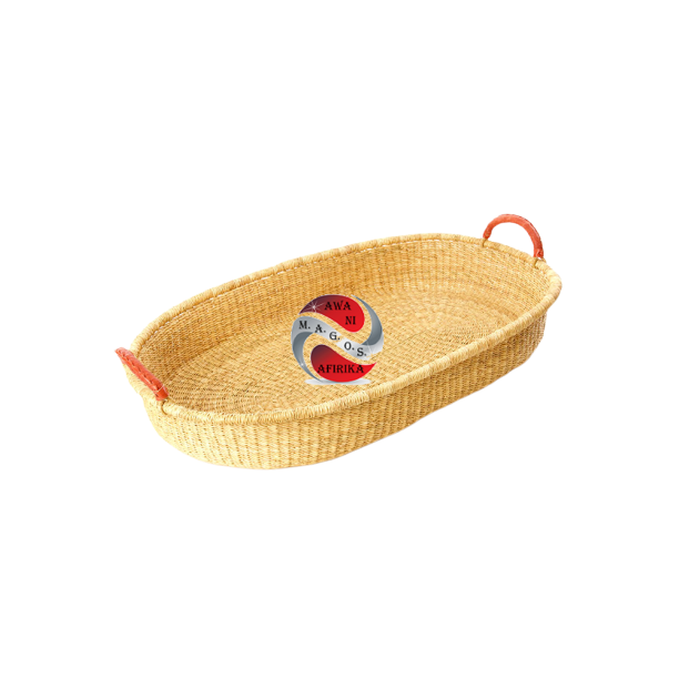Ghanaian Natural Changing Basket with Leather Handles