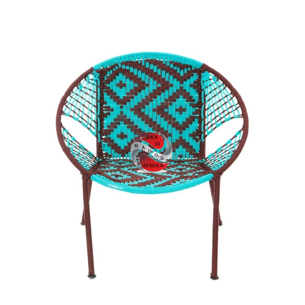 Aqua & Brown Petite Children's Peekaboo Chair