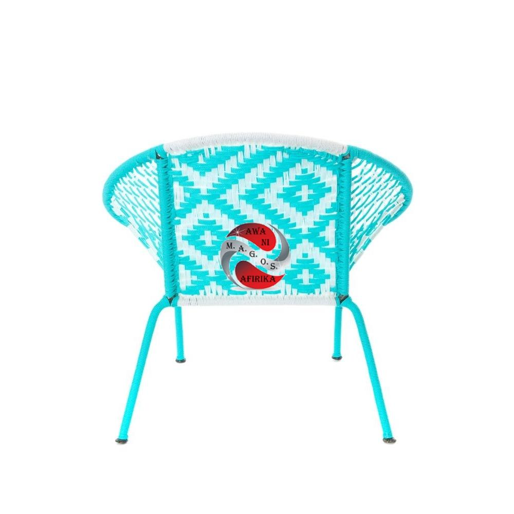 Aqua & White Petite Children's Peekaboo Chair