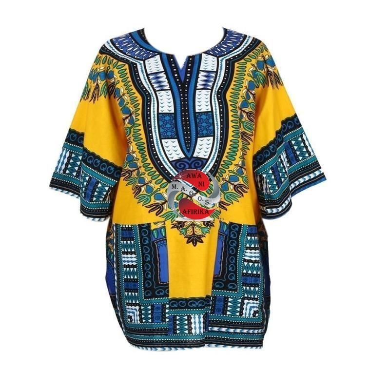 African Print Dress Shirt - | M.A.G.O.S. African print off the shoulder top, African print dresses for graduation, African wear for women
