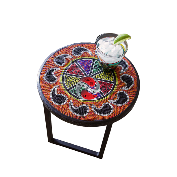 Beaded Rainbow Paisley Cocktail Stool