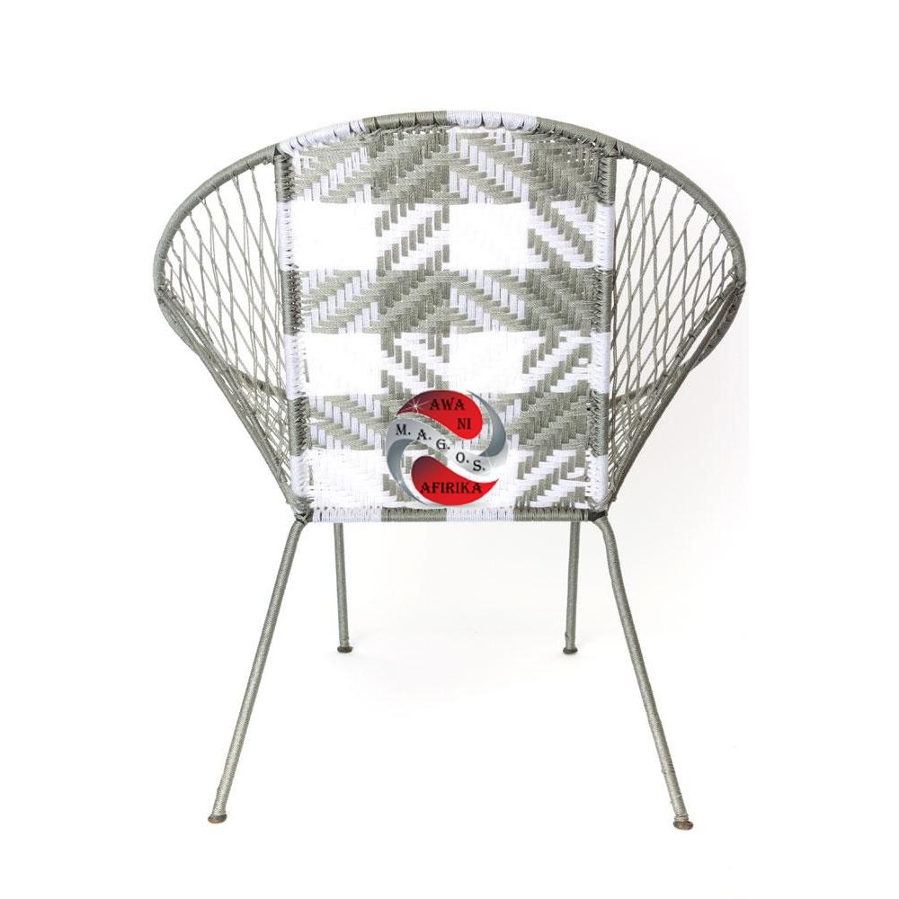 Grey Plaid Dakar Deck Chair from Senegal