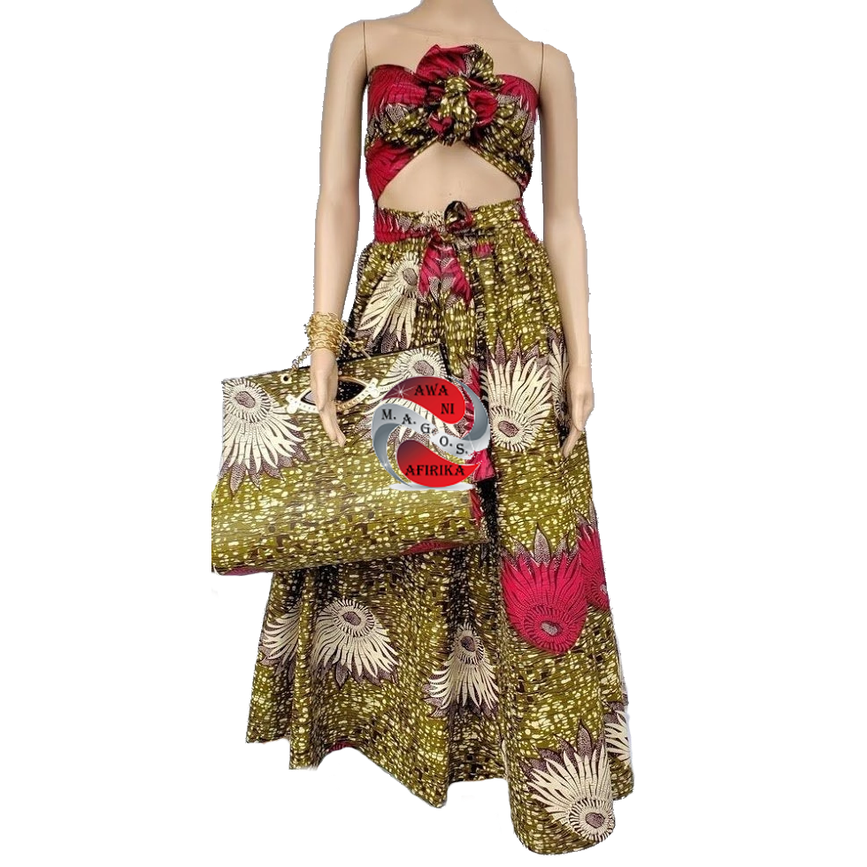 Women's African Olive Print Skirt and Bag Set