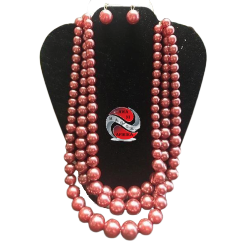 Layered Strands Stone-simulated Pearl Beads Necklace Earrings Set-Hot Pink