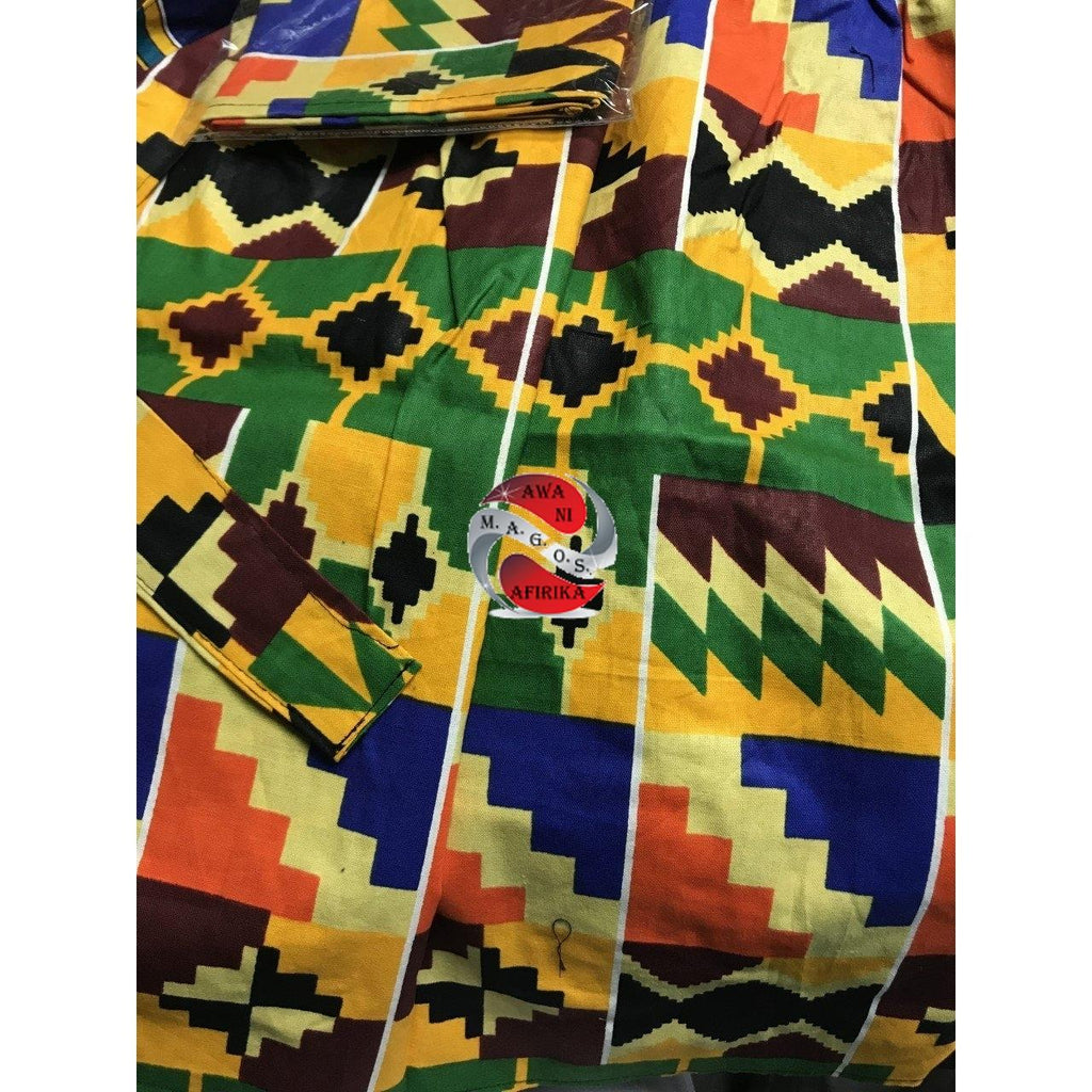 COLORFUL GIRLS AFRICAN PRINT SKIRT AND SCARF SET-GREEN