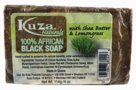100% African Black Soap With Shea Butter & Lemongrass