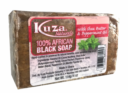 100% African Black Soap with Shea Butter & Peppermint Oil
