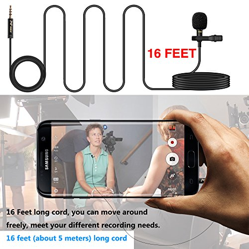 "PoP voice 196"" Single Head Lavalier Lapel Microphone Omnidirectional Condenser Mic for Apple iPhone Android & Windows Smartphones, Youtube, Interview, Studio, Video Recording, Noise Cancelling Mic"