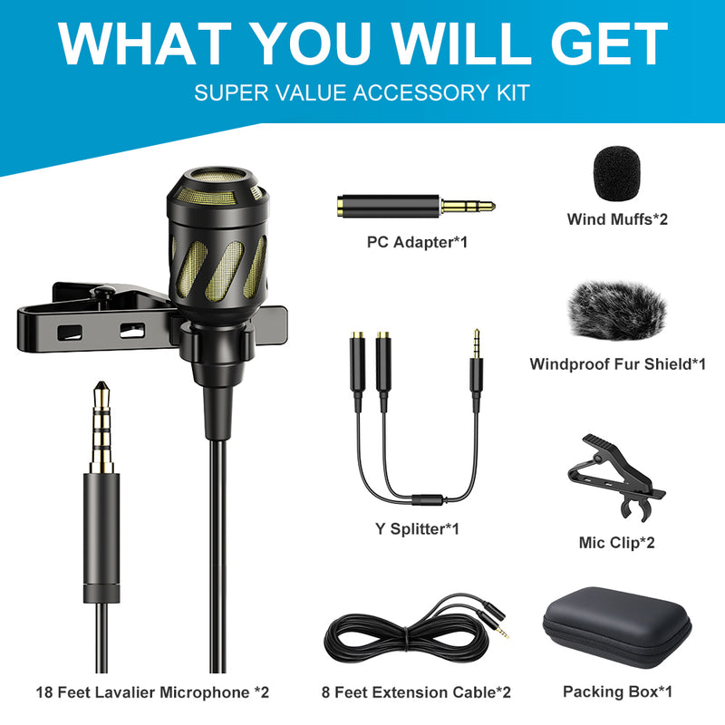 PoP voice 18 Feet Lavalier Microphone, 2 Pack Lapel Microphones forPC,Computer,Laptop,Camera,YouTube,Interview,Video