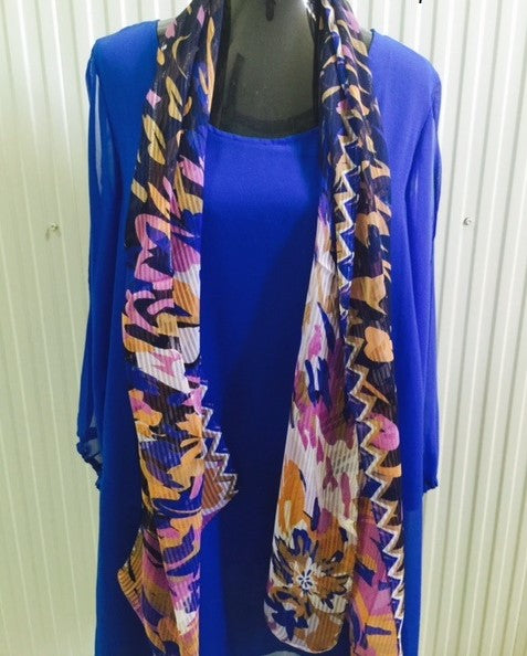 S160 - Purple/Black/Pink Scarf